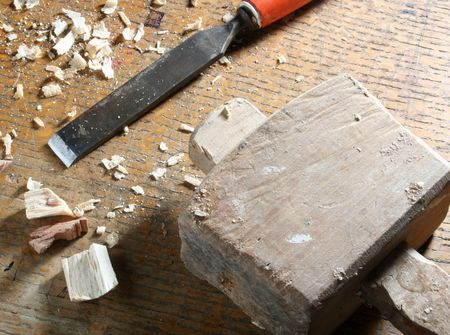 joinery: Close-up of old joinery tools on workbench      Stock Photo
