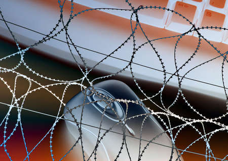 office theft: Negative abstract showing computer overlaid with razor wire image
