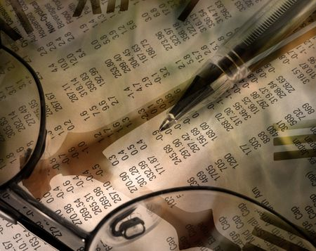 finacial: Composite abstract illustrating share trading. Image contains pen resting on finacial newspaper overlaid with clock face.