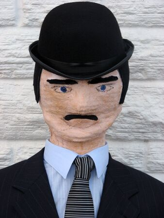conman: Dummy dressed up as businessman. Stock Photo