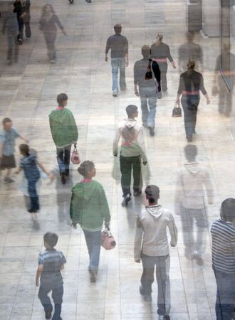 Conceptual illustration of shoppers in shopping mall