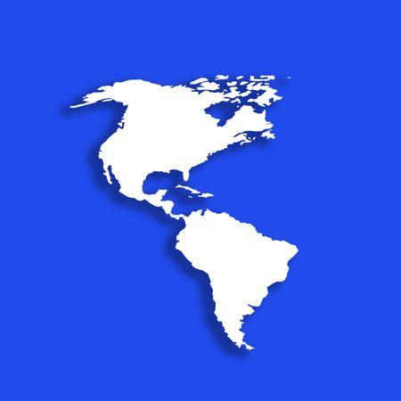 continente americano: Esbozo del Continente Americano sobre fondo azul