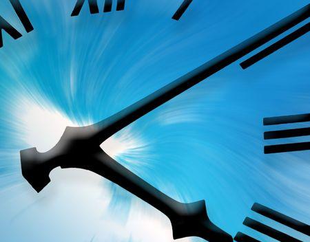 Clockface overlaid onto sky abstract photo