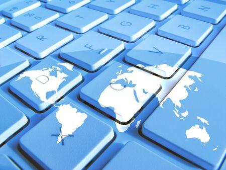 White ouline map overlaid onto laptop keyboard photo