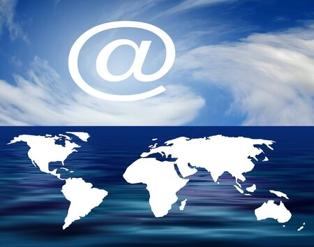 White outline map of world with email symbol Stock Photo - 2567238