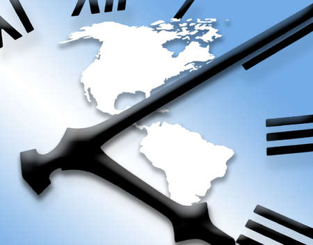 clockface: Clockface overlaid onto outline map of the American Continent Stock Photo
