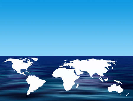 World outline map floating on simulated water photo