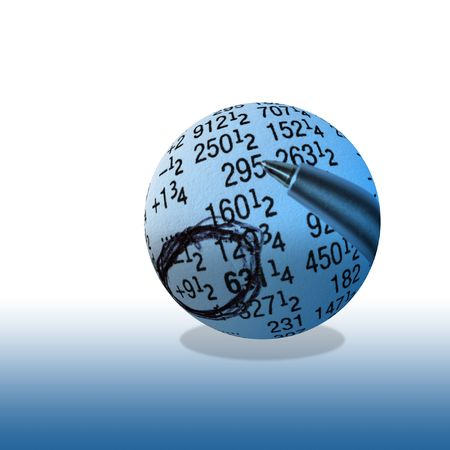 stockmarket: Close-up of financial figures inside of globe Stock Photo
