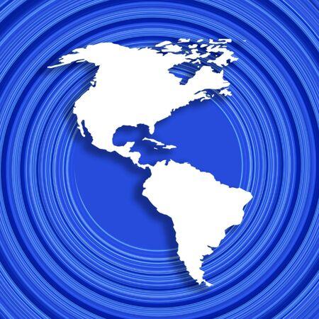 continente americano: Mapa blanco del contorno del patr�n americano del azul del excedente del continente Foto de archivo