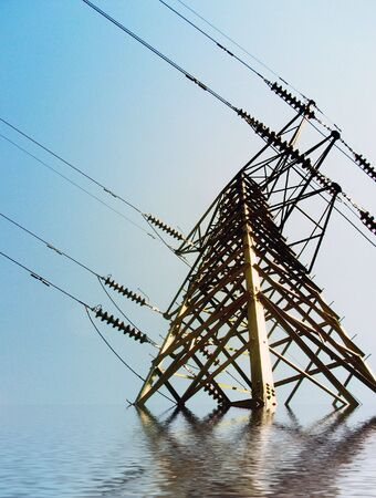 pylon: Simulation of flood waters around an electricity pylon Stock Photo