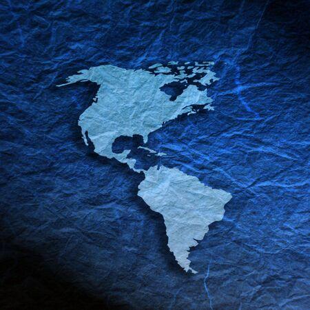 continente americano: Esquema del mapa de Continente Americano sobre la textura de papel azul