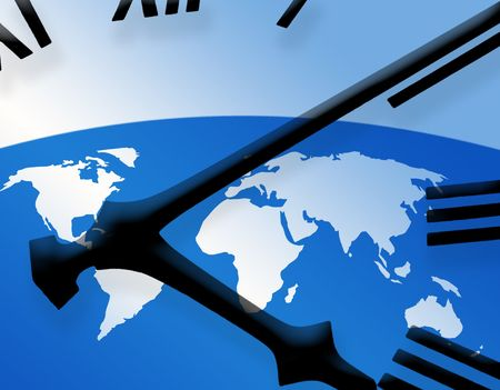 Outline map of world overlaid with clock face photo