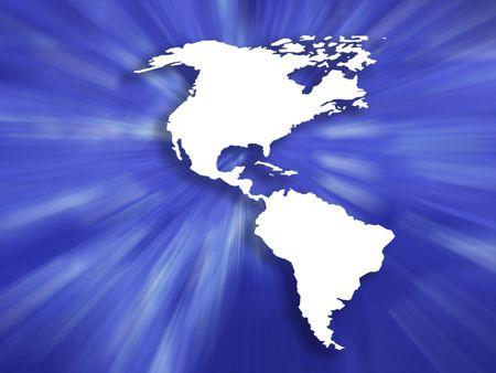 continente americano: Esquema del mapa de los continentes americano rayas azules sobre fondo  Foto de archivo