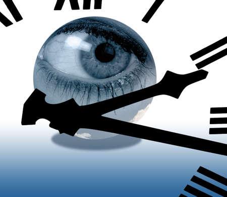 spying: Clockface overlaid onto composite eye inside of globe Stock Photo