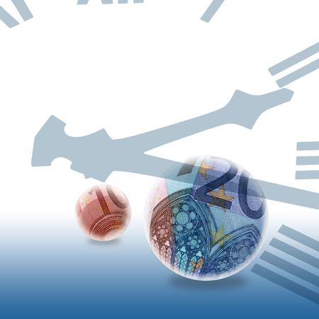 Euro Bank notes inside of globes overlaid with clockface Stock Photo - 2746730