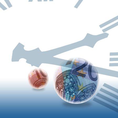 clockface: Euro Bank notes inside of globes overlaid with clockface