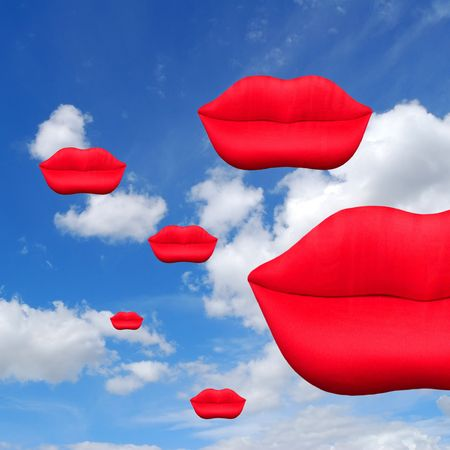 Red lip shapes on cloudy sky background Stock Photo - 2779853