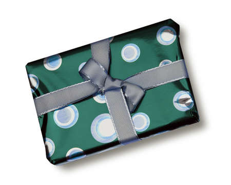 Green coloured wrapping paper with grey ribbon photo