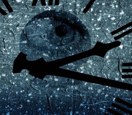 Clockface overlaid onto composite eye with grunge effect photo
