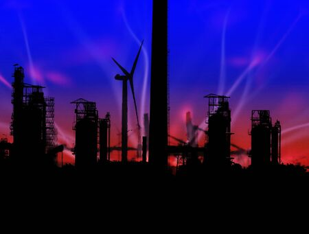 Ullustration showing wind turbine in an industrial scene with plasma overlay Stock Photo - 2900568