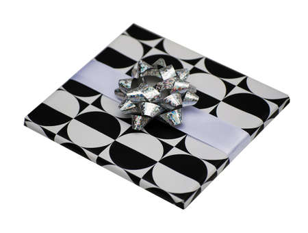 Present in black and white wrapping paper  photo