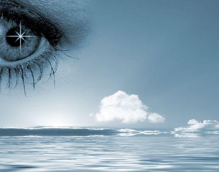 overseen: Conceptual illustration of eye overlooking water scene Stock Photo