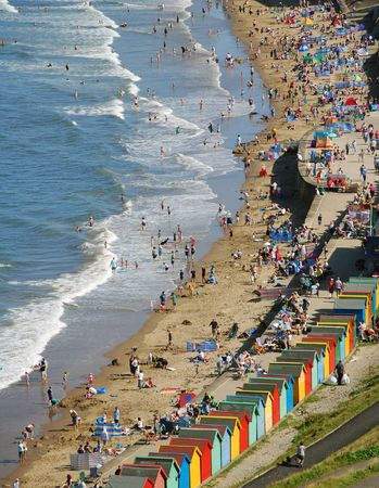 whitby: Beach scene showing holiday makers at Whitby, North Yorkshire. Stock Photo
