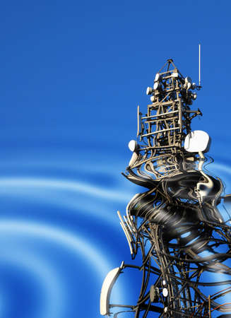 Reflections of communications tower in simulated water pattern Stock Photo - 2997029