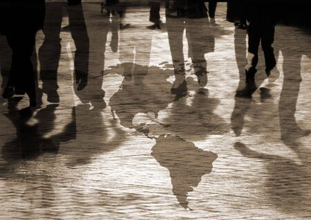 turbulent: Conceptual image of shoppers walking over american map
