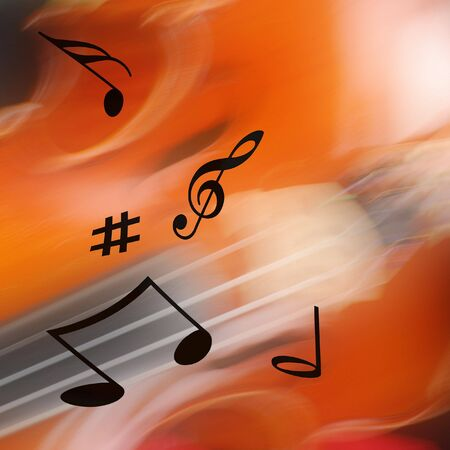 quavers: Musical notes over violin blur for backgrounds