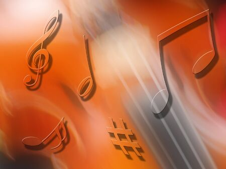 quavers: Musical notes float over blurred violin abstract