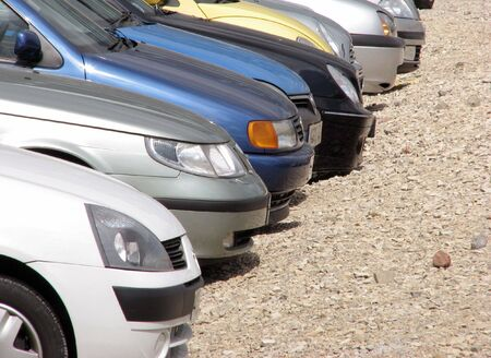 Telephoto view of parked cars in parking lot Stock Photo - 3218436