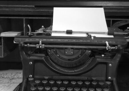 Black and white image of old typewriter and desk Stock Photo - 3243057
