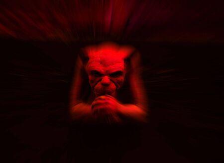 gargouille: Red gargouille statue avec zoom pour effet de flou Banque d'images