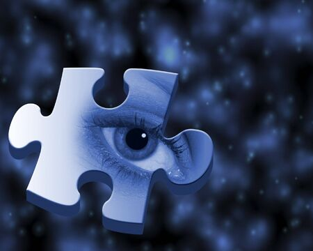 Eye jigsaw piece floating over blue abstract background