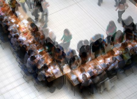 multi layered: Multi layered image of students enrolling for courses