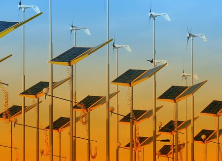 solar wind: Conserving energy with wind generators and solar panels Stock Photo