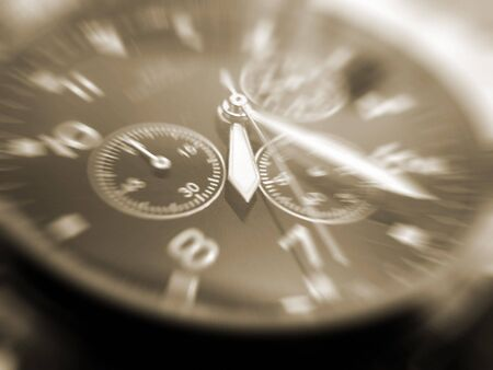 close-up of face of wrist watch sepia toned Stock Photo - 3521642