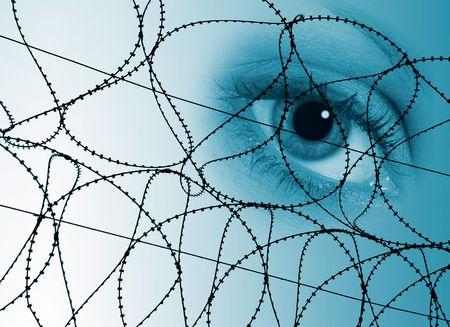 razor wire: Conceptal image of eye behind razor wire.