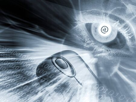 Conceptual image of eye and mouse and email at sign