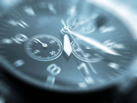 close-up of face of wrist watch toned blue Stock Photo - 3566448