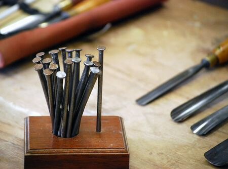 Closeup of tools on carpenters work bench