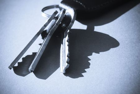 key fob: Blue toned close-up of  keys and key fob
