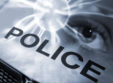 Conceptual image of eye abstract overlaid onto police car