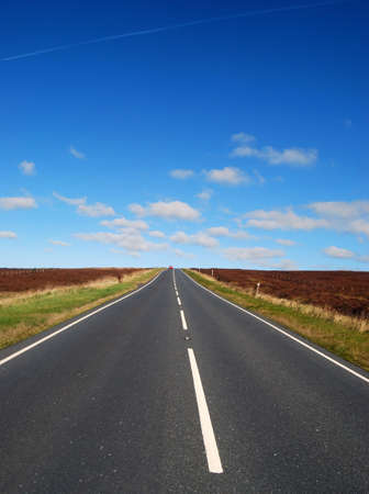 upright: Upright view of road through Yorkshire Moors Stock Photo