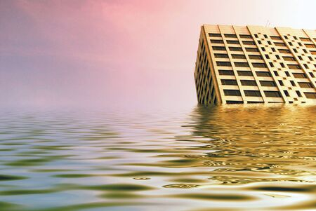 engulf: Simulated flood waters engulf tower blocks in city centre. Stock Photo