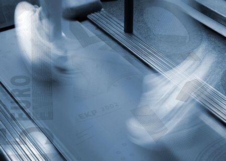 Conceptual image of running man over Euro bank notes Stock Photo - 3818456