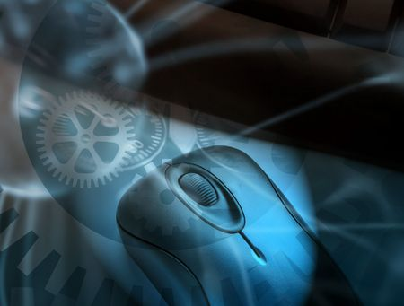Keyboard and mouse overlaid with cogwheel pattern Stock Photo