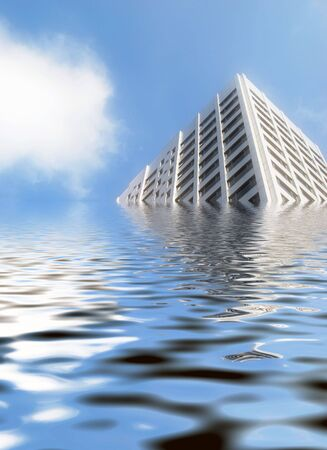 tide: Office block with simulated flooded water effect Stock Photo