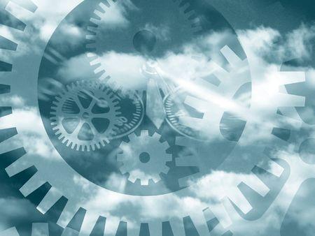 曇り空の上の歯車のパターンの概念の複合 写真素材